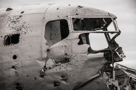 Abandoned plane wreck of the US Navy in Iceland
