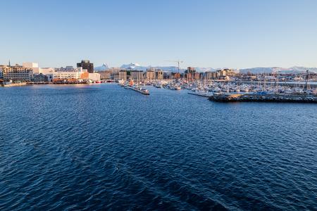 Evening mood over the city Bodo in Norway Standard-Bild