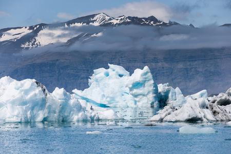 Sunshine over Jokulsarlon glacier lake in Iceland
