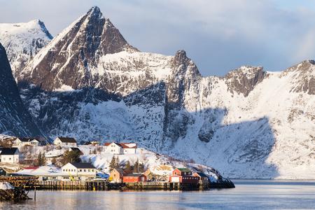 Fishing village Sakrisoy on Lofoten islands (Norway) during a sunny winter day