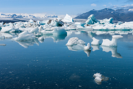 Sunshine over Jokulsarlon glacier lake in Iceland