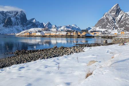 Little fishing village Sakrisoy on Lofoten islands during a beautiful winter day
