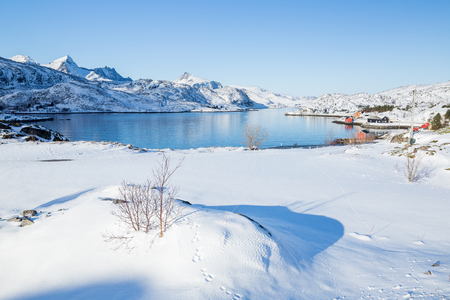 Lofoten islands in Norway during a beautiful winter day