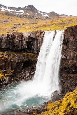 Waterfall Gufufoss in east Iceland