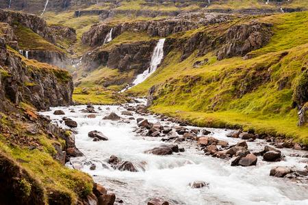 Beautiful Vestdalsfossar in east Iceland