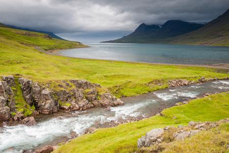 Fjord Seydisfjordur in Iceland