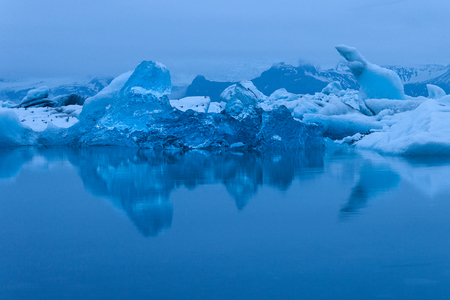 Evening mood at Jokulsarlon glacier lake in Iceland