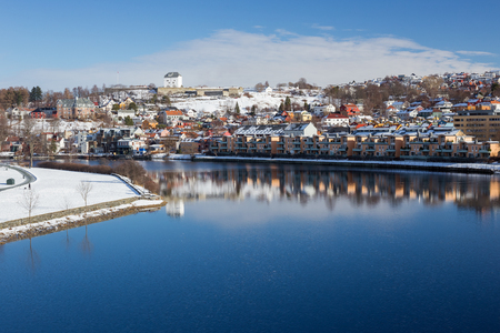 Cityscape of Trondheim in winter