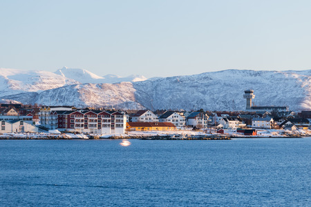 Evening mood over the city Bodo in Norway Stock Photo