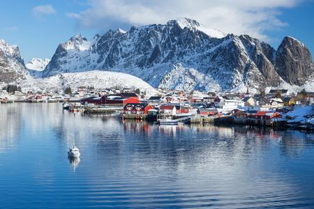 Little fishing village Reine on Lofoten islands during a beautiful winter day