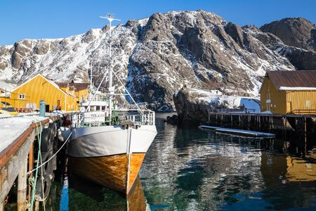 Little village Nusfjord on Lofoten islands during a sunny winter day