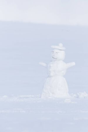 Snowman in the white winter landcape of Krkonose