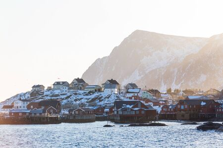Little fishing village A on Lofoten islands in winter Standard-Bild