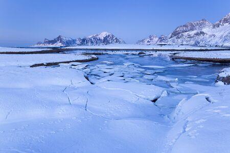 Ice floes on Lofoten islands in winter
