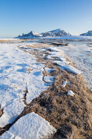 Beautiful winter landscape on Lofoten islands at a sunny day
