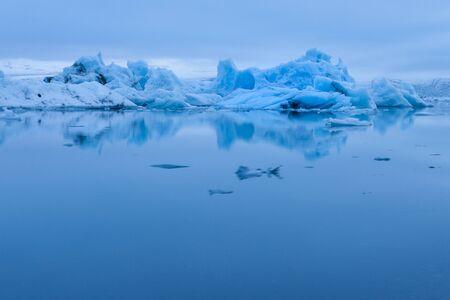 Evening mood at Jokulsarlon glacier lake in Iceland
