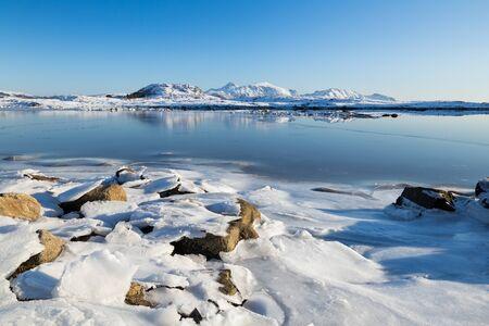 Beautiful Lofoten islands at a sunny winter day Standard-Bild