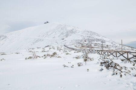 Peak of the Snezka mountain in winter (Krkonose) Standard-Bild