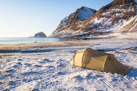 Camping on Lofoten islands in Norway in winter Reklamní fotografie