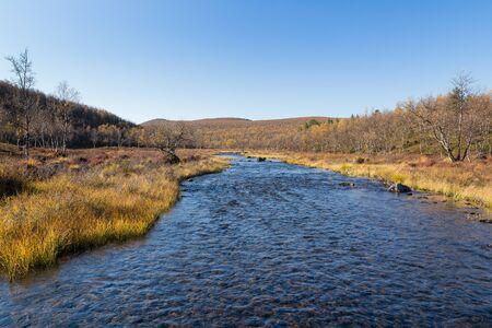 River landscape in Finland in autumn