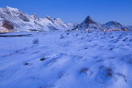 Evening on Lofoten islands in winter  Reklamní fotografie