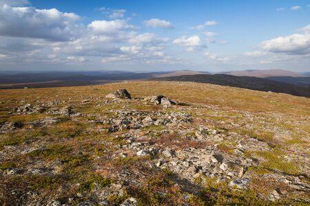 Autumn landscape over a mountain landscape in northern Finland Standard-Bild