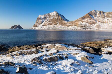 Haukland beach on Lofoten islands in Norway in winter Standard-Bild