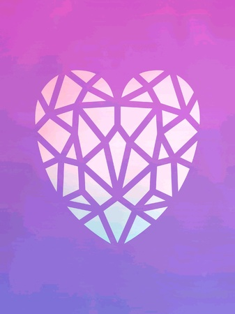 style: Heart purple shaped in background