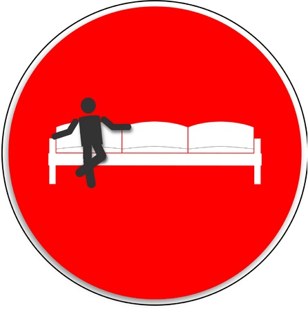 closing time: NO ENTRY, man sitting on the sofa