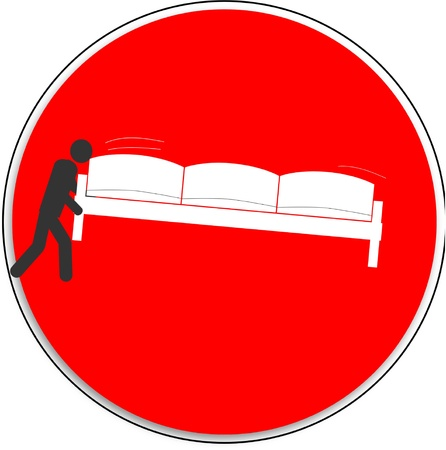 closing time: NO ENTRY, man carries the sofa