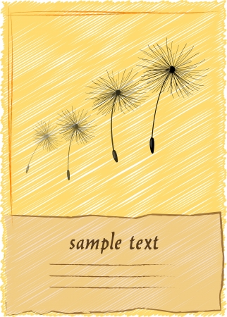 blow out: greeting card with dandelion Illustration