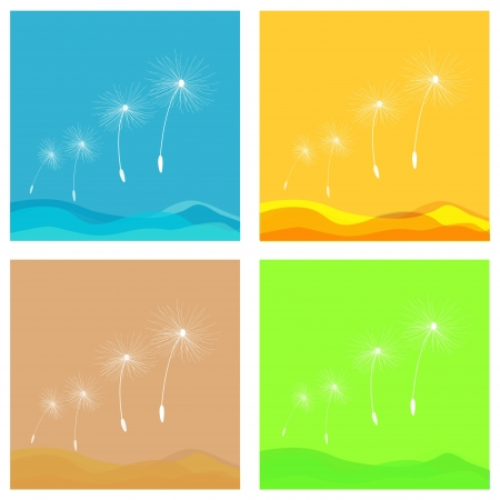 colored panels with dandelions and color gradients Stock Vector - 18152896