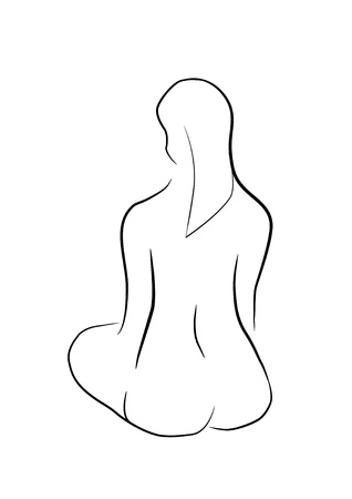 naked woman sitting: Sitting woman - naked - study