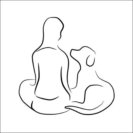 フレンドリーなポーズ - 犬と一緒に座っている女性はロゴまたは記号として使用できます。  イラスト・ベクター素材
