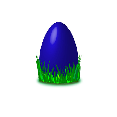 egg laying: blue colored easter egg laying in grass Illustration