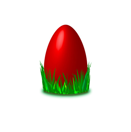 laying egg: nice red colored easter egg laying in grass Illustration