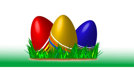 food poison: nice three painted easter eggs laying in grass