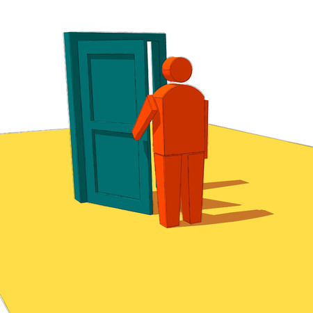 phantasy: Man open a door to see what is behind