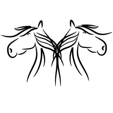 mirrored: mirrored heads of horses
