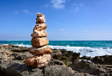 picture of a stone tower to remeber and wish to come back Stock Photo