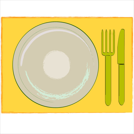 menue: Illustration of a table set - shows plate, fork and knife - to use for logo, background, menue card, etc.