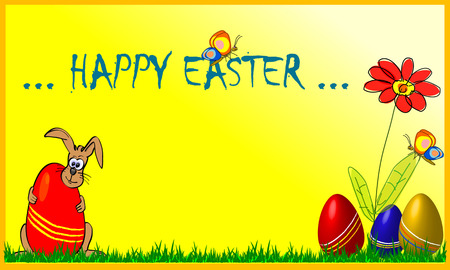 simple greeting card with sketched bunny, flowers and colored eggs