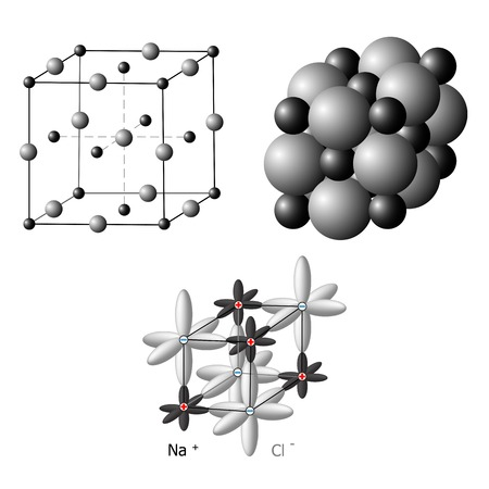 Illustration of an ionic crystal structure of sodium chloride, NaCl Illustration