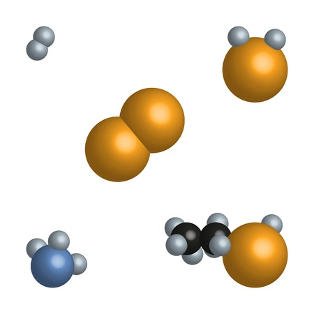 asked: Illustration models of molecules of different substances. Hydrogen, oxygen, water, ammonia, alcohol. Note students on the structure and size of the molecules, asked the question: What are the particles are composed of hydrogen molecules, oxygen and water?