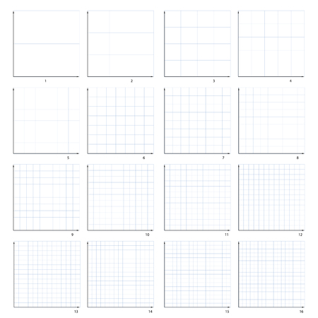 The isolated illustration of the first quarter of the coordinate plane. Sixteen variants from one to sixteen.