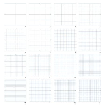 y axis: The isolated illustration of the complete coordinate plane. Sixteen variants of two to sixteen. Illustration