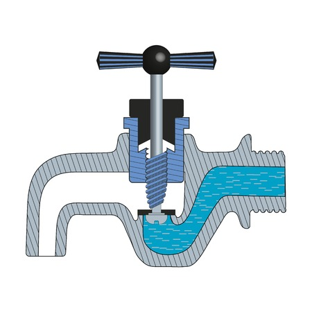 Illustration of the principle of work of the faucet without mixer Illustration