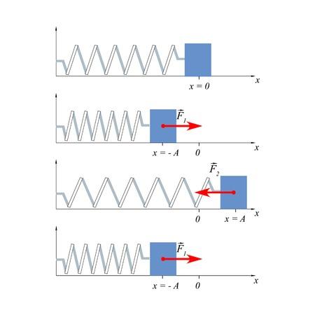 elongacion: fluctuaciones de carga Ilustración en la primavera ayudarán a explicar a los estudiantes el movimiento oscilatorio, el concepto de desplazamiento y las oscilaciones armónicas. Vectores