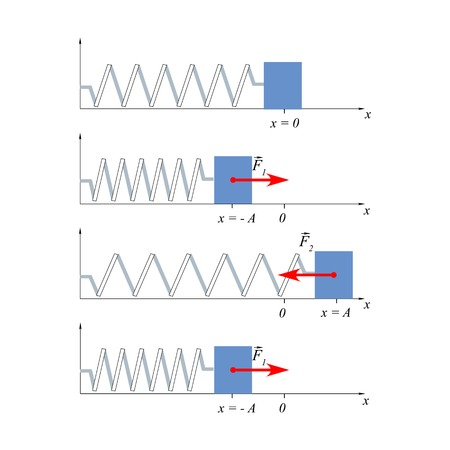 Illustration load fluctuations on the spring will help explain to students the oscillatory motion, the concept of displacement and harmonic oscillations.
