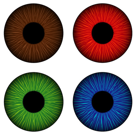 clarity: Simple set of human eyes iris isolated illustration.